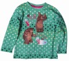 F3119#GREEN Child winter long sleeve martha cartoon t shirt