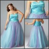 2012 New Designs Strapless Blue Swirl Plus Size Ballgown QNPD12107-9