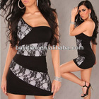 Sexy hot fashion One Shoulder glamour women's Clubwear mini dress XXL
