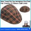 Mens Tweed Flat Cap Herringbone Wool Peak Hat Country 5 Colours Quilt Lined 02