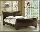 Wave 4ft6 Double Brown Faux Leather Bed Frame 8017BK-3