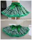 2012 Baby Boutique Clothing Green White Stripes Pettiskirt,Dance Wear Skirts for Young Girls
