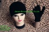 Black knitted polyester adult beanie and fingerless gloves two-piece set