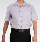 short sleeve 100 cotton black and white striped shirts for men