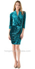 Sea Draped Velvet Wrap Dress HSM8102
