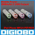 Mobile Power 2600mAh Portable Charger for iPad iPhone MOBILE PHONE MP3/MP4 PSP/NDS USB Output
