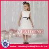 FGD005 white satin black belt ruffle flower girl dresses for weddings
