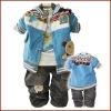 3pcs 100% Cotton boy winter clothing sets
