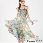 Fashion One Shoulder Long Ladies Chiffon 1 piece Dress