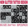 2011 New Stencil for Body Painting Glitter Tattoos, 50 sheets Mixed Designs PH-D03B