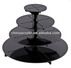4 Tier Round Acrylic Cake Stand - Black