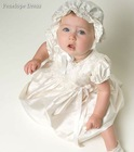 CH-014 Lovely silk satin short baby christening gown