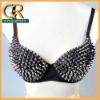 34B/36B Women Sexy Metallic Gathers Punk Spike Studs Rivet Bra Bralet Clubwear