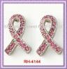 RH-4144 Pink Ribbon Stud Earrings With Pink Rhinestone