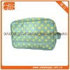 High style cute round dots green pu cosmetic bag