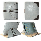 Double colors 360 Degree Rotating Luxury Brass Button Belt Leather Stand Pouch Case for iPad 3 iPad 4 Gray+Brown