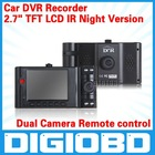 "2.7"" TFT LCD IR Night Version Car Dash Camera Road Recorder Dual Camera Remote control H.264 Car DVR Recorder"
