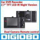 "2.7"" TFT LCD IR Night Version Car Dash Camera Road Recorder Dual Camera Remote control H.264 Car DVR Recorder"