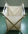 Stripe cotton of foldable wooden Laundry hamper