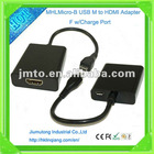 New Mold Micro B USB M to HDMI Adapter F W/Charge Port Cable MHL