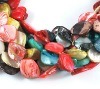 Shell Beads Strands, Spray-Painted, Flat Round, Dyed, Multicolor, about 17~25x14~22x4~6mm, about 19~22pcs/strand(BSHE-R019-1)