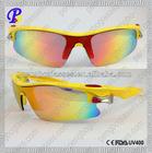 Yellow Revo lens sporting sunglasses with customer logo