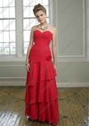 Elegant Red Chiffon Sweetheart Tiered Wedding Guest Apparel Women BD-A069