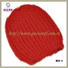 red simple crochet hat