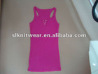 ladies or girls basic scoop neck solid tanktop with top fly