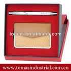 Classic boxed gift set with metal ball pen and cheap business card holder