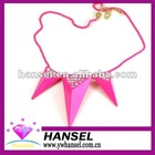 rose pink color fashion triangle diamond pendant necklace