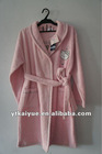 women wear Plain pink fleece Bathrobe with Embroidery