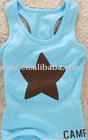 light colour with star print cotton tank top for children