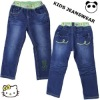 2012 girls fashion denim jeans,green elastic waistband