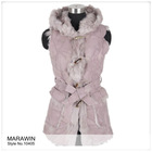 10405 Toscana lamb fur long vest with hood and belt, cheap winter coat