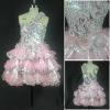 Handmade flowers and pleats short dresses pink