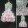 Handmade flowers and pleats short dresses pink