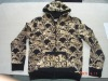 Men's golden foil printed zip hoodie knitted jacket