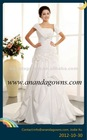 2013 Exclusive design spaghetti strap wedding dress with sleeves and flowers