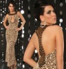 Leopard Round-Neckline Beaded Evening Dress Guangzhou Manufacturer
