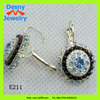 women fashion jewelry lever back earring with blue rhinestone,diasy lever back earrings
