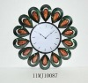 Colorful Peacock Side Feather Metal Art Wall Quartz Clock