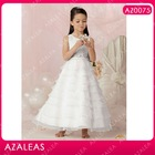 AZ0075 Beading Sash Ankle length Round Neck A-Line Organza kids party wear dresses