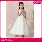 AZ0075 Beading Sash Ankle length Round Neck A-Line Organza kids party wear dresses