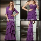 Free Shipping 2012 New Chiffon Shrapless Beaded Floor Length with a long sleeve jacket Mother of the Bride Dresses JYMD071