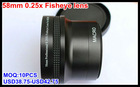 OEM Dslr 58mm 0.25x Fish eye camera lens for Canon 18-55 55-250
