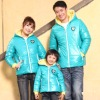 blue color fashion outdoor family 100%cotton jacket with hood