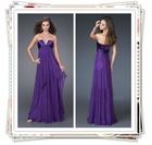 2012 Eggplant Sweetheart Strapless Corest with several Beadings Purple Chiffon Floor Length Prom Dress/Evening Dress(YSWE016)