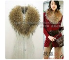 100% new real raccoon dog fur scarf collar two ways, fur scarf
