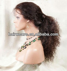 22 inch #1 big curl virgin full lace human hair wigs with baby hair